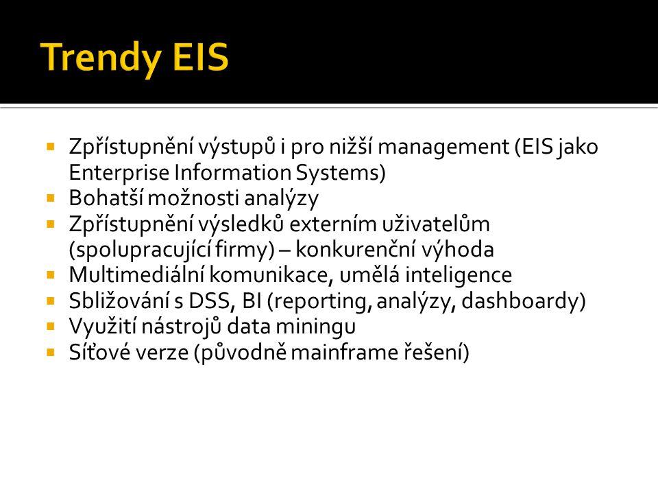  Zpřístupnění výstupů i pro nižší management (EIS jako Enterprise Information Systems)  Bohatší možnosti analýzy  Zpřístupnění výsledků externím uživatelům (spolupracující firmy) – konkurenční výhoda  Multimediální komunikace, umělá inteligence  Sbližování s DSS, BI (reporting, analýzy, dashboardy)  Využití nástrojů data miningu  Síťové verze (původně mainframe řešení)