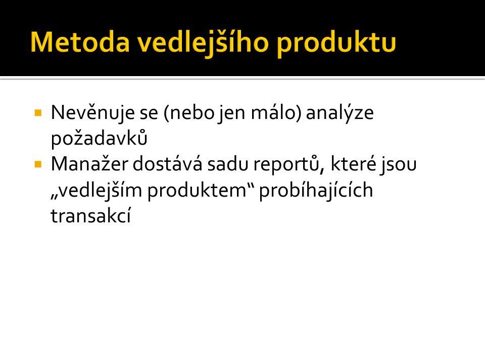""" Nevěnuje se (nebo jen málo) analýze požadavků  Manažer dostává sadu reportů, které jsou """"vedlejším produktem probíhajících transakcí"""