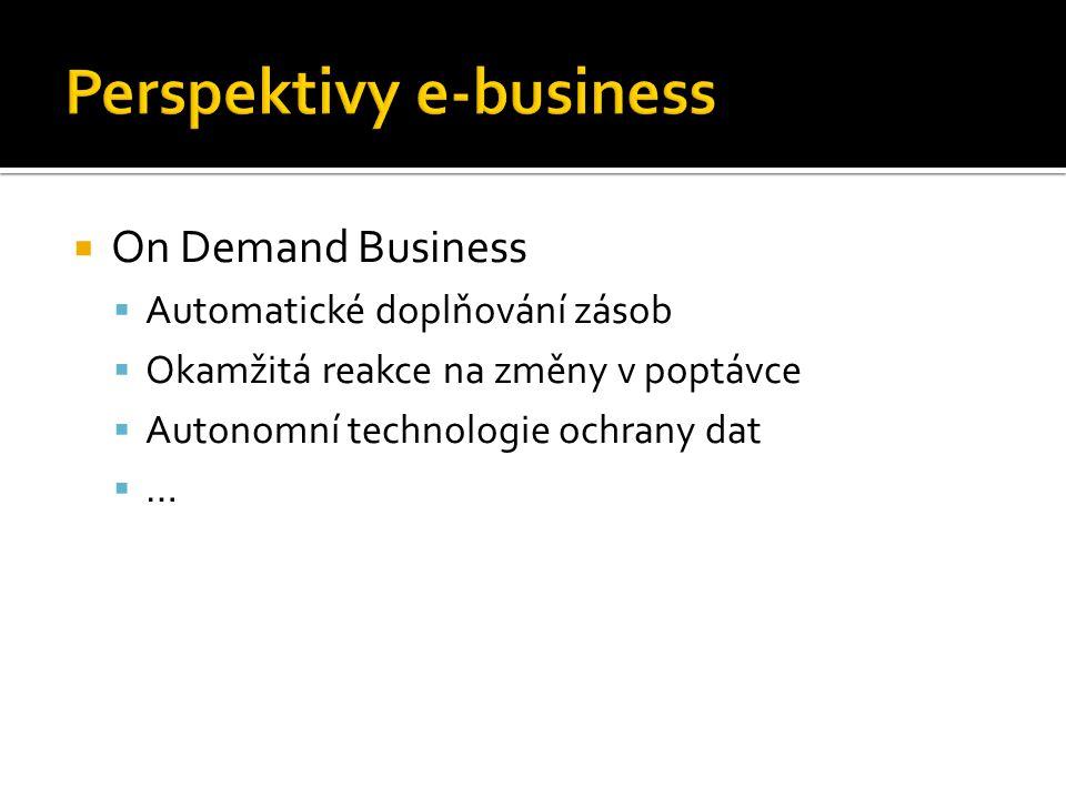  On Demand Business  Automatické doplňování zásob  Okamžitá reakce na změny v poptávce  Autonomní technologie ochrany dat  …