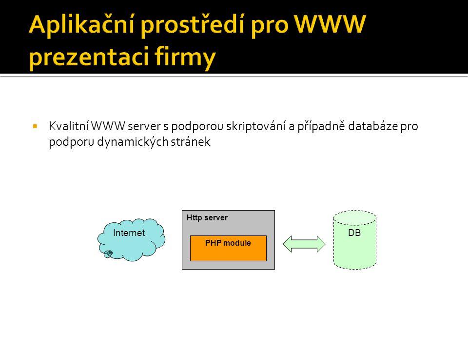 Kvalitní SQL relační databáze s podporou transakcí  Zajištění bezpečnosti a konzistence dat  Podpora XML/XSL Http server (SSLsupport) PHP DB Internet DB Servlet engine XML/XSL parser JDBC Other connectors ERP