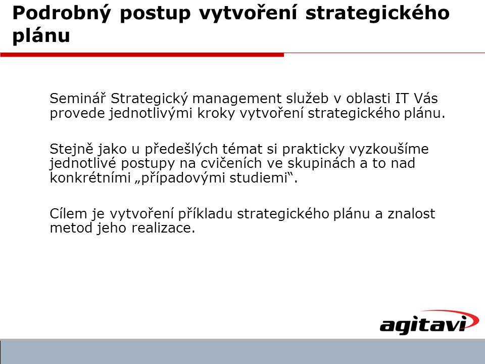 Seminář Strategický management služeb v oblasti IT Vás provede jednotlivými kroky vytvoření strategického plánu.