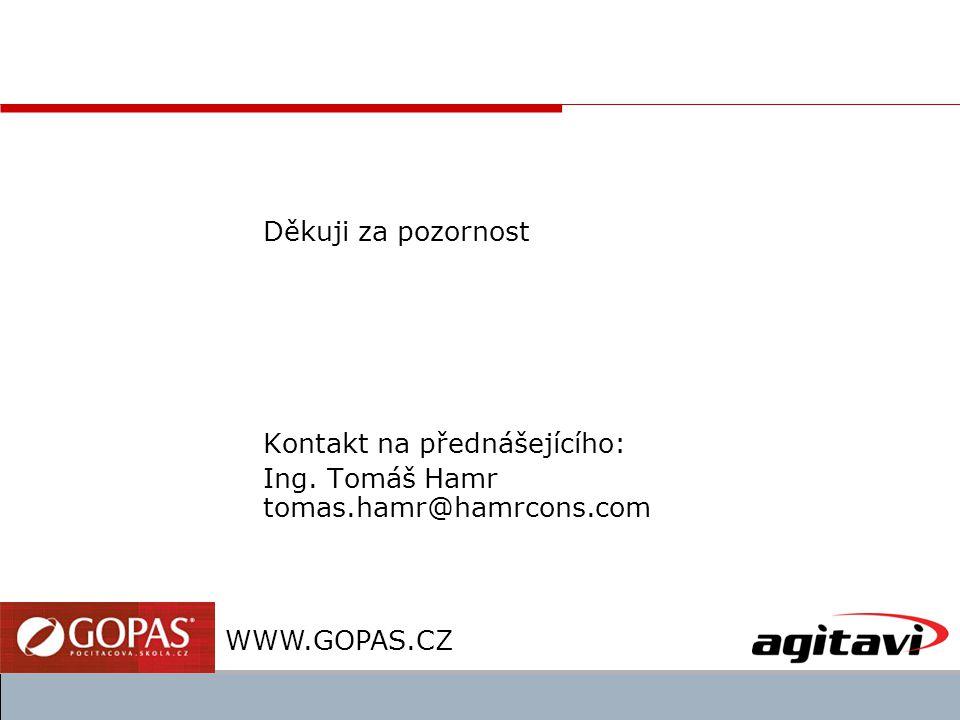 Děkuji za pozornost Kontakt na přednášejícího: Ing. Tomáš Hamr tomas.hamr@hamrcons.com WWW.GOPAS.CZ