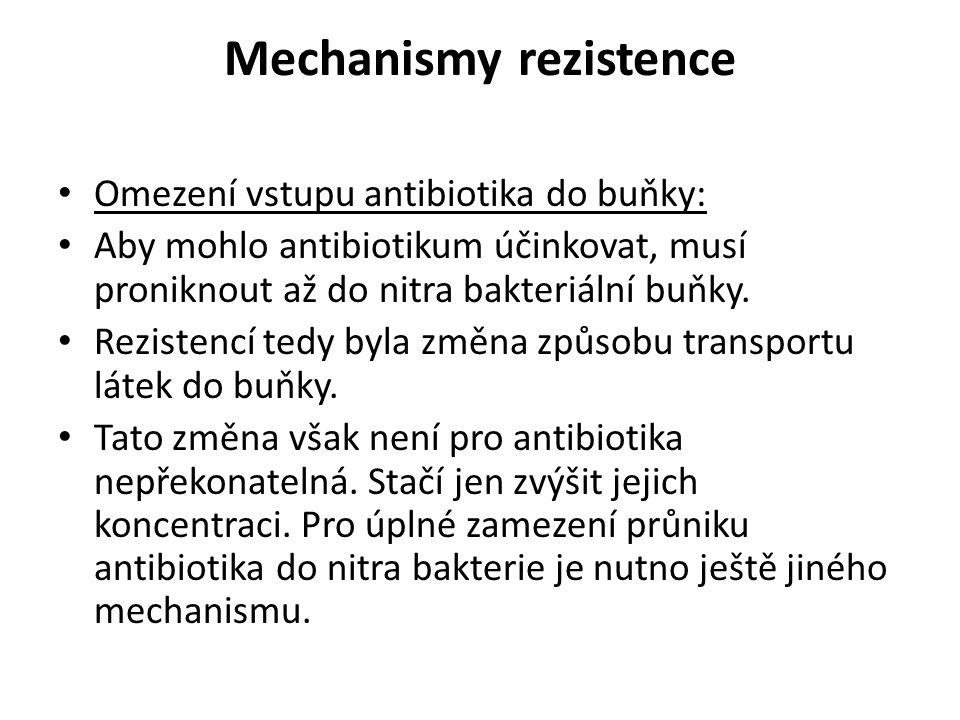 Mechanismy rezistence Omezení vstupu antibiotika do buňky: Aby mohlo antibiotikum účinkovat, musí proniknout až do nitra bakteriální buňky. Rezistencí