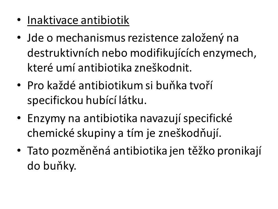 Inaktivace antibiotik Jde o mechanismus rezistence založený na destruktivních nebo modifikujících enzymech, které umí antibiotika zneškodnit. Pro každ