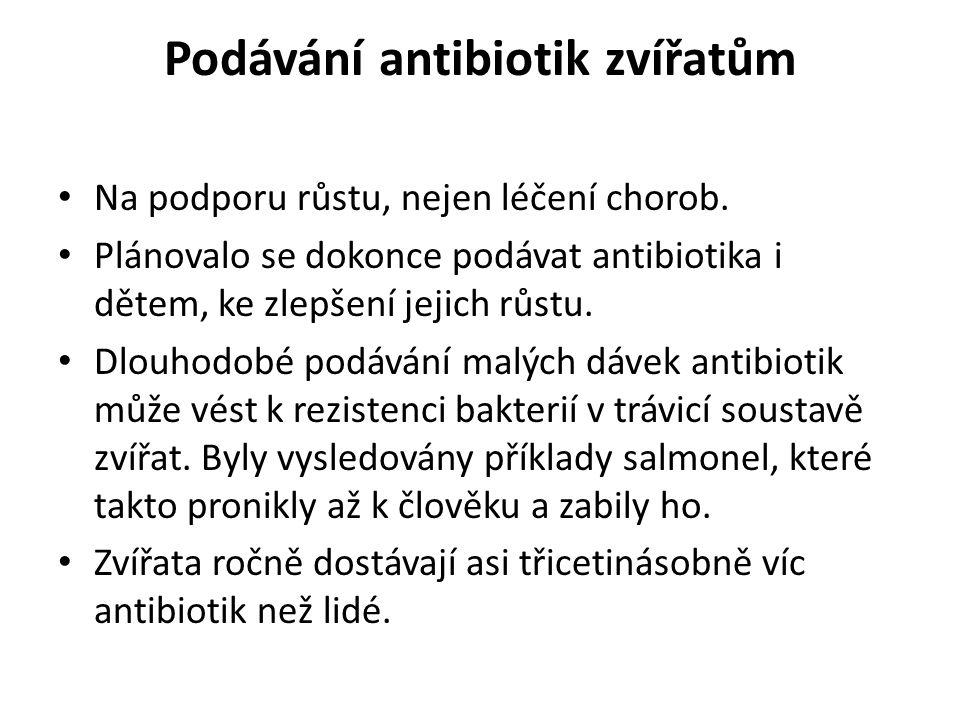 Podávání antibiotik zvířatům Na podporu růstu, nejen léčení chorob. Plánovalo se dokonce podávat antibiotika i dětem, ke zlepšení jejich růstu. Dlouho