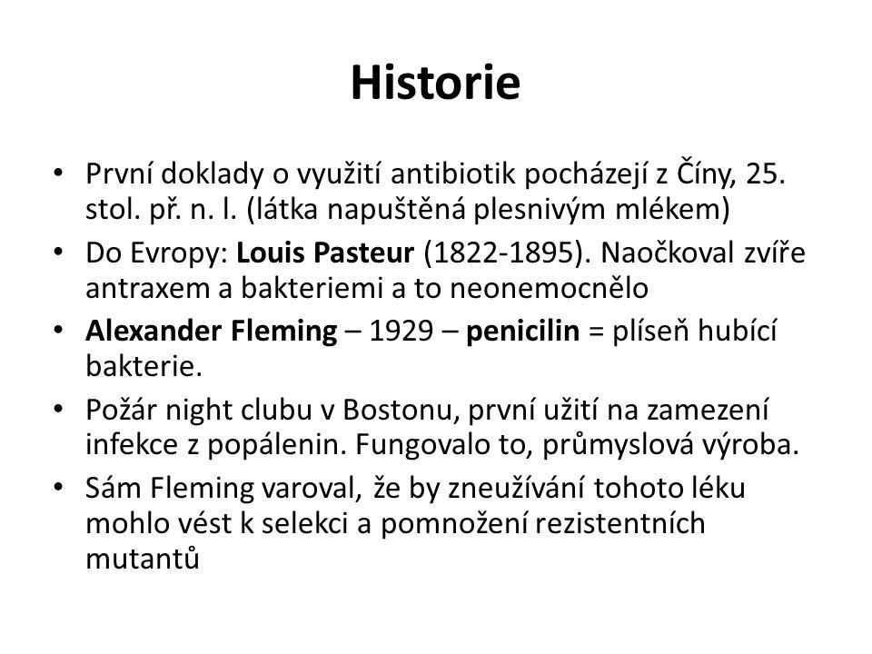 Historie První doklady o využití antibiotik pocházejí z Číny, 25. stol. př. n. l. (látka napuštěná plesnivým mlékem) Do Evropy: Louis Pasteur (1822-18