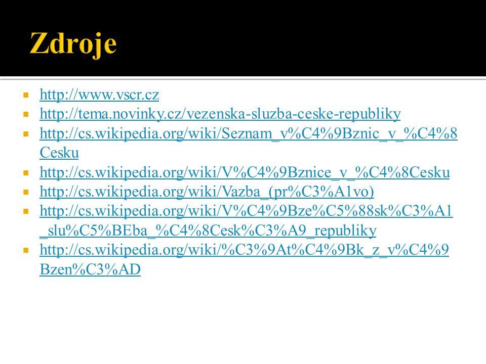  http://www.vscr.cz http://www.vscr.cz  http://tema.novinky.cz/vezenska-sluzba-ceske-republiky http://tema.novinky.cz/vezenska-sluzba-ceske-republiky  http://cs.wikipedia.org/wiki/Seznam_v%C4%9Bznic_v_%C4%8 Cesku http://cs.wikipedia.org/wiki/Seznam_v%C4%9Bznic_v_%C4%8 Cesku  http://cs.wikipedia.org/wiki/V%C4%9Bznice_v_%C4%8Cesku http://cs.wikipedia.org/wiki/V%C4%9Bznice_v_%C4%8Cesku  http://cs.wikipedia.org/wiki/Vazba_(pr%C3%A1vo) http://cs.wikipedia.org/wiki/Vazba_(pr%C3%A1vo)  http://cs.wikipedia.org/wiki/V%C4%9Bze%C5%88sk%C3%A1 _slu%C5%BEba_%C4%8Cesk%C3%A9_republiky http://cs.wikipedia.org/wiki/V%C4%9Bze%C5%88sk%C3%A1 _slu%C5%BEba_%C4%8Cesk%C3%A9_republiky  http://cs.wikipedia.org/wiki/%C3%9At%C4%9Bk_z_v%C4%9 Bzen%C3%AD http://cs.wikipedia.org/wiki/%C3%9At%C4%9Bk_z_v%C4%9 Bzen%C3%AD