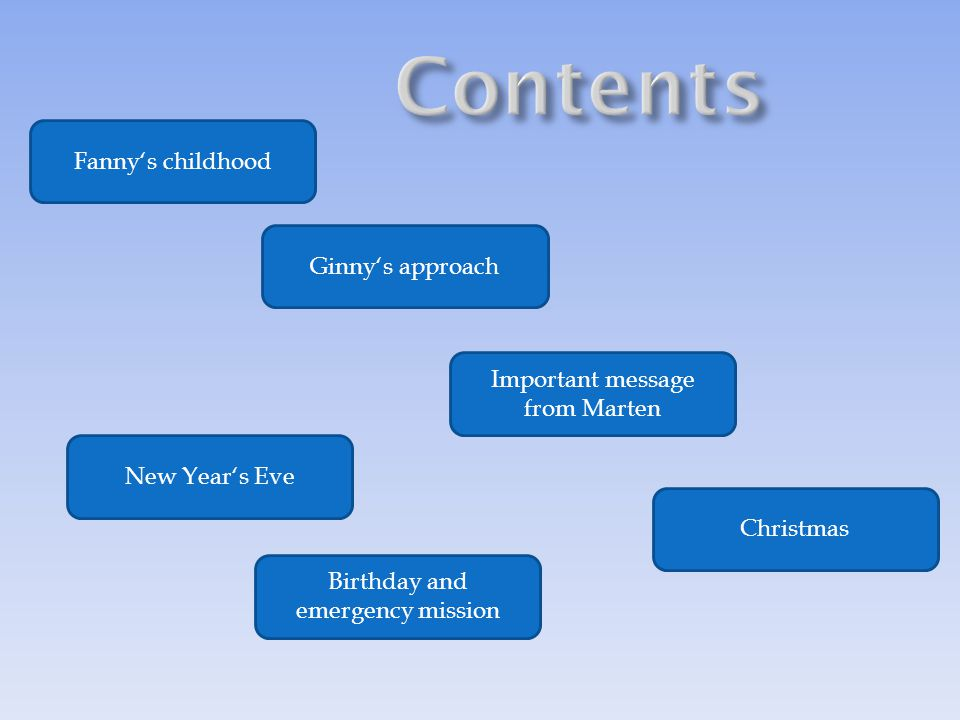 Fanny's childhood Ginny's approach Important message from Marten Birthday and emergency mission New Year's Eve Christmas