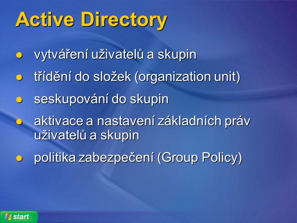 Active Directory vytváření uživatelů a skupin vytváření uživatelů a skupin třídění do složek (organization unit) třídění do složek (organization unit) seskupování do skupin seskupování do skupin aktivace a nastavení základních práv uživatelů a skupin aktivace a nastavení základních práv uživatelů a skupin politika zabezpečení (Group Policy) politika zabezpečení (Group Policy)