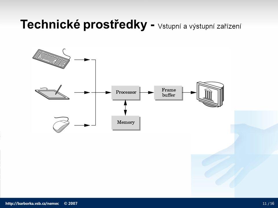 11 / 5 6 http://barborka.vsb.cz/nemec © 2007 Technické prostředky - Vstupní a výstupní zařízení