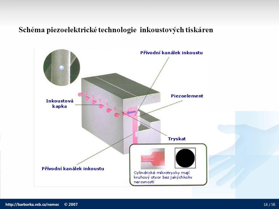 18 / 5 6 http://barborka.vsb.cz/nemec © 2007 Schéma piezoelektrické technologie inkoustových tiskáren
