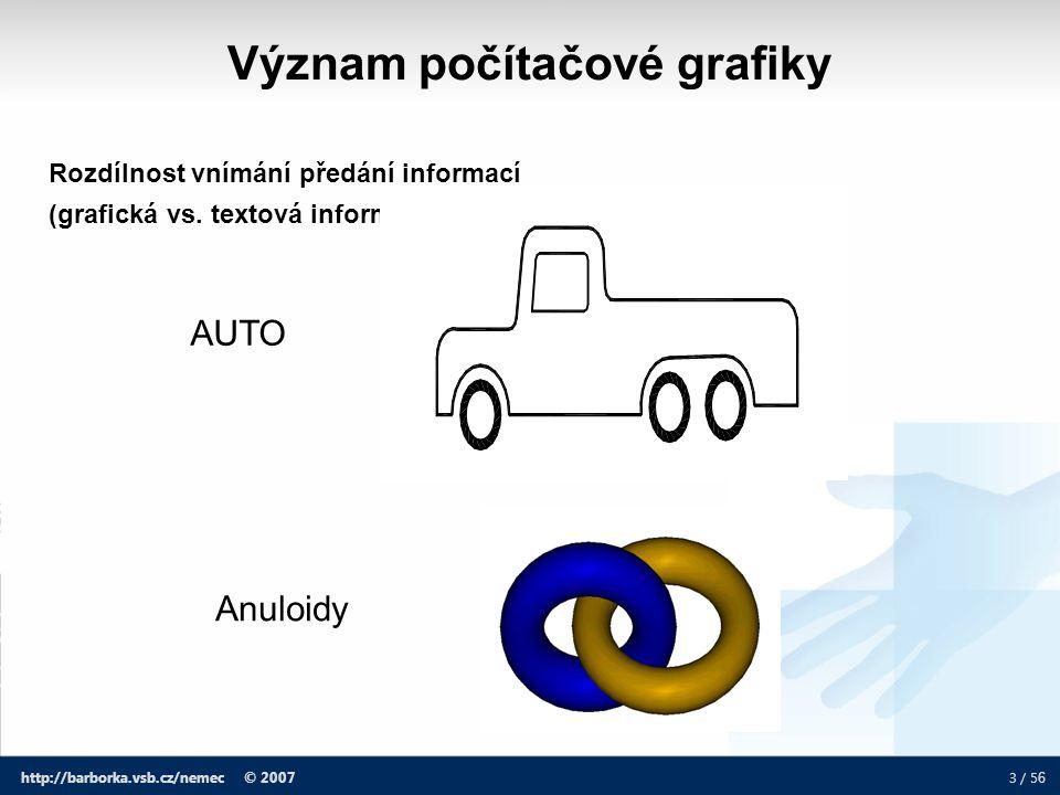 3 / 5 6 http://barborka.vsb.cz/nemec © 2007 Rozdílnost vnímání předání informací (grafická vs. textová informace) AUTO Anuloidy Význam počítačové graf