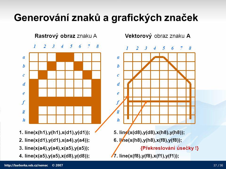 37 / 5 6 http://barborka.vsb.cz/nemec © 2007 Generování znaků a grafických značek Rastrový obraz znaku A 1. line(x(h1),y(h1),x(d1),y(d1)); 5. line(x(d