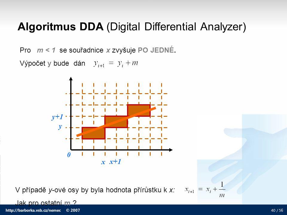 40 / 5 6 http://barborka.vsb.cz/nemec © 2007 Algoritmus DDA (Digital Differential Analyzer) Pro m < 1 se souřadnice x zvyšuje PO JEDNÉ. Výpočet y bude