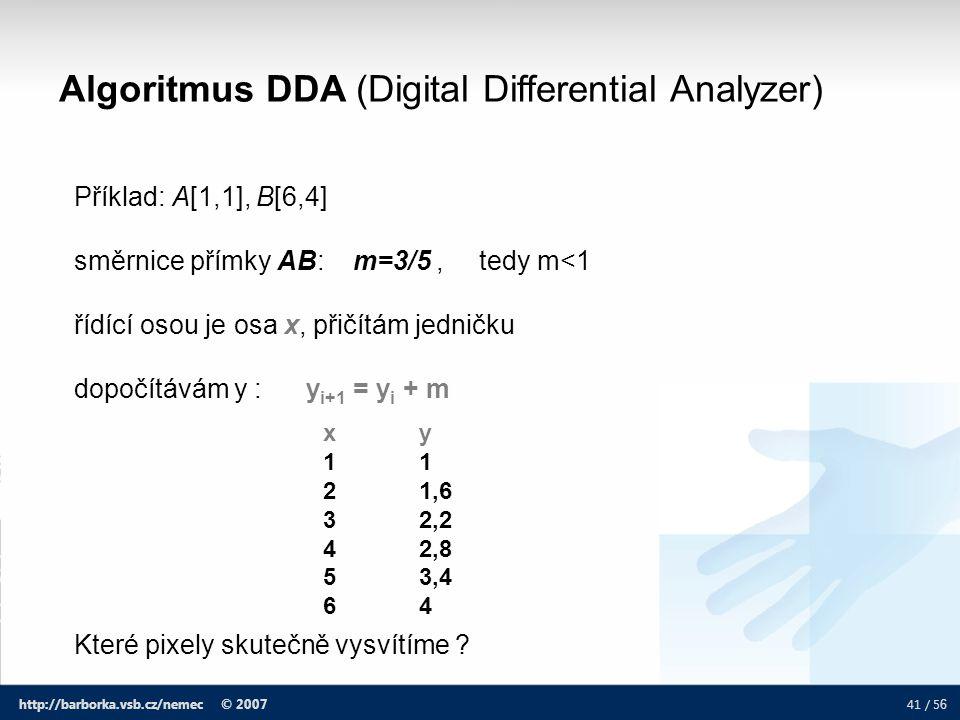 41 / 5 6 http://barborka.vsb.cz/nemec © 2007 Algoritmus DDA (Digital Differential Analyzer) Příklad: A[1,1], B[6,4] směrnice přímky AB: m=3/5, tedy m<