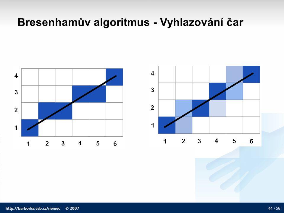 44 / 5 6 http://barborka.vsb.cz/nemec © 2007 Bresenhamův algoritmus - Vyhlazování čar