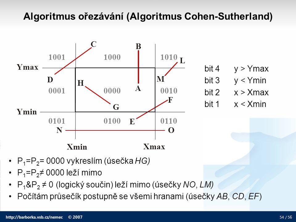 54 / 5 6 http://barborka.vsb.cz/nemec © 2007 Algoritmus ořezávání (Algoritmus Cohen-Sutherland) P 1 =P 2 = 0000 vykreslím (úsečka HG) P 1 =P 2 ≠ 0000