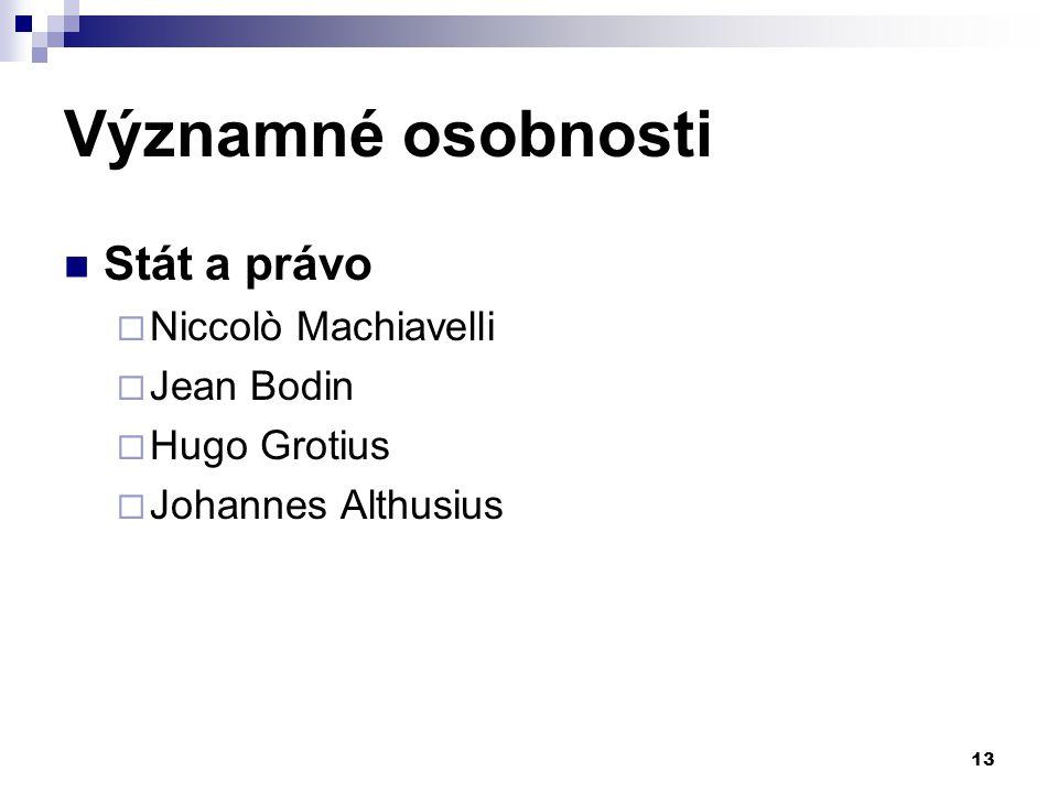 Významné osobnosti Stát a právo  Niccolò Machiavelli  Jean Bodin  Hugo Grotius  Johannes Althusius 13
