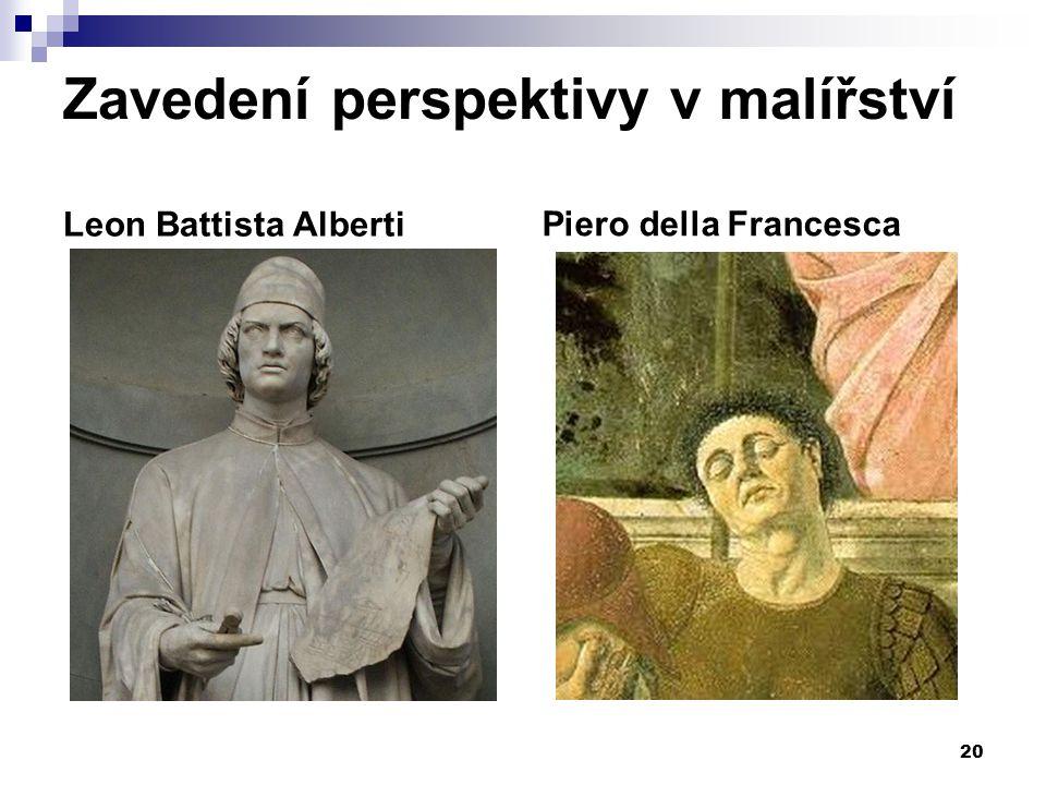 Zavedení perspektivy v malířství Leon Battista AlbertiPiero della Francesca 20