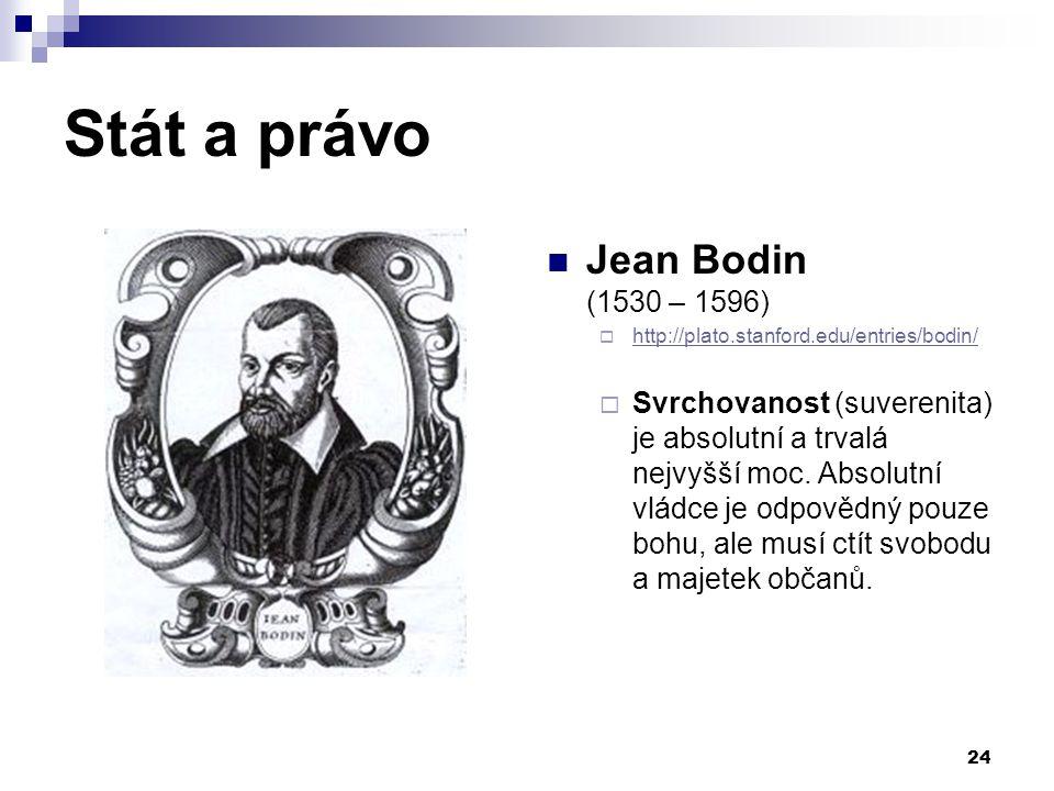 Stát a právo Jean Bodin (1530 – 1596)  http://plato.stanford.edu/entries/bodin/ http://plato.stanford.edu/entries/bodin/  Svrchovanost (suverenita)