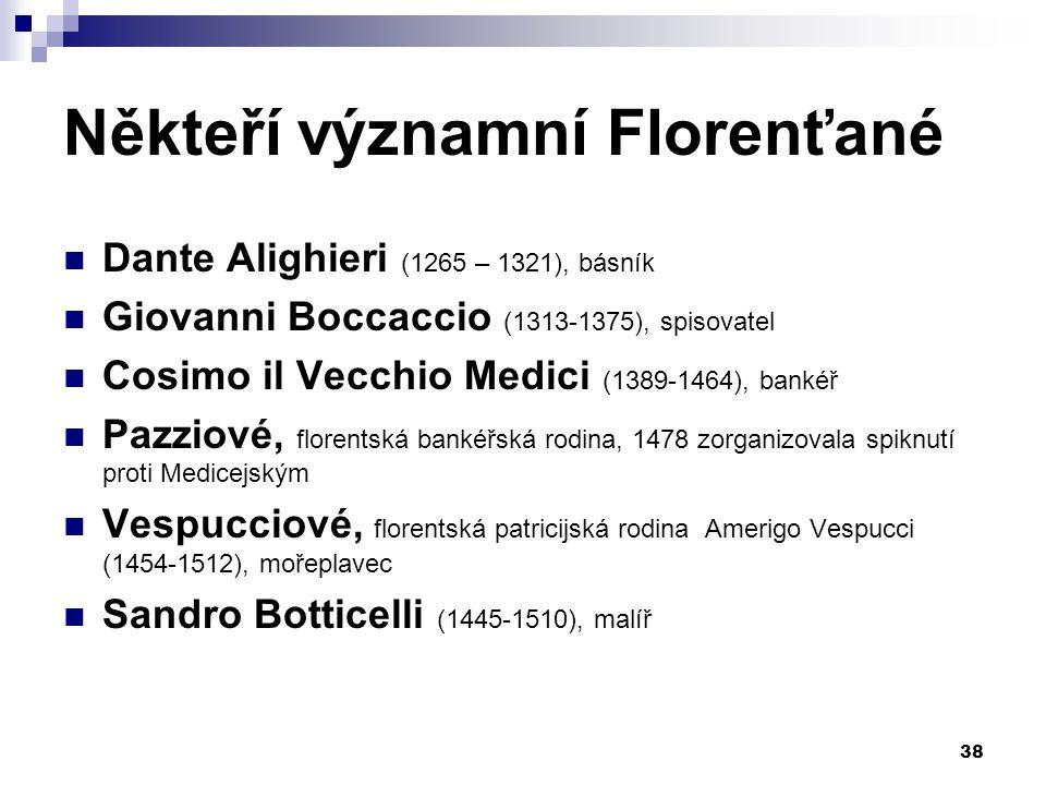 Někteří významní Florenťané Dante Alighieri (1265 – 1321), básník Giovanni Boccaccio (1313-1375), spisovatel Cosimo il Vecchio Medici (1389-1464), ban