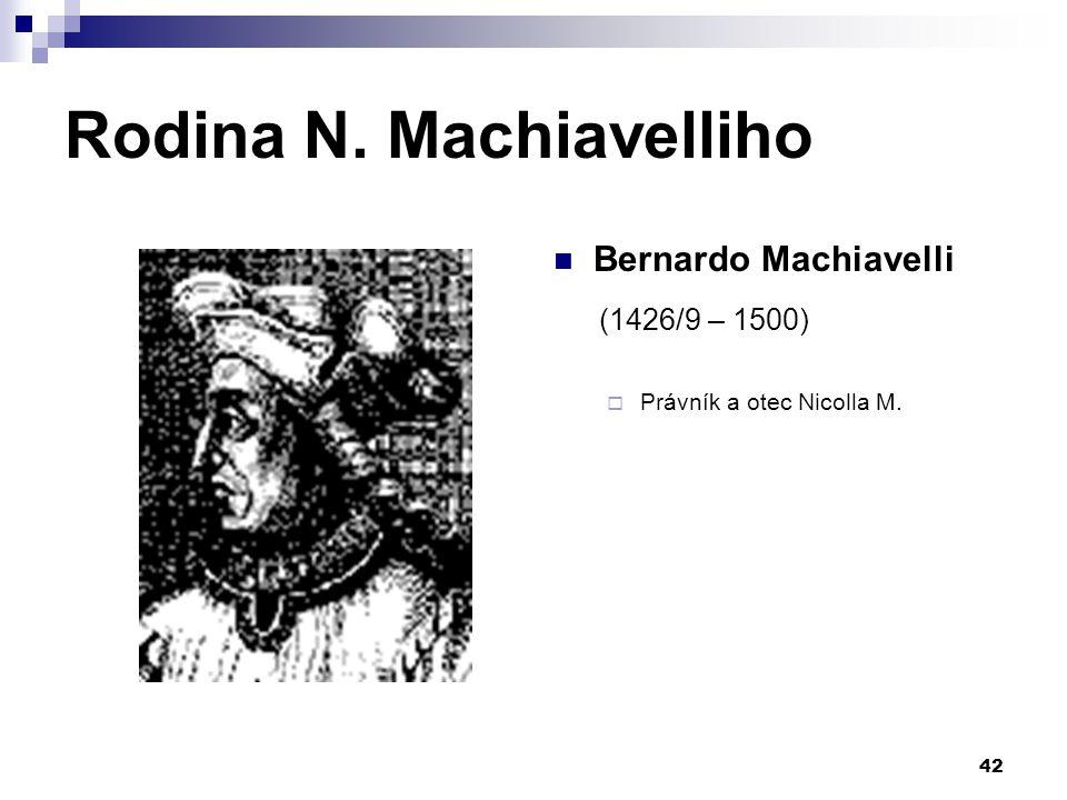 Rodina N. Machiavelliho Bernardo Machiavelli (1426/9 – 1500)  Právník a otec Nicolla M. 42