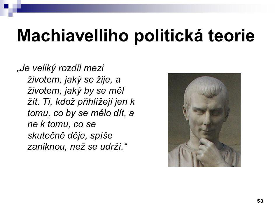"""Machiavelliho politická teorie """"Je veliký rozdíl mezi životem, jaký se žije, a životem, jaký by se měl žít. Ti, kdož přihlížejí jen k tomu, co by se m"""