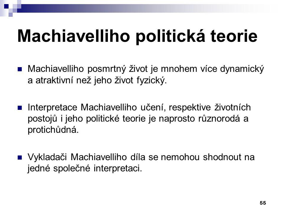 Machiavelliho politická teorie Machiavelliho posmrtný život je mnohem více dynamický a atraktivní než jeho život fyzický. Interpretace Machiavelliho u