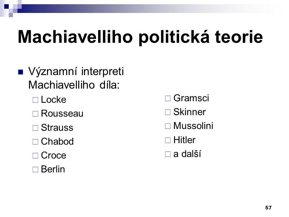 Machiavelliho politická teorie Významní interpreti Machiavelliho díla:  Locke  Rousseau  Strauss  Chabod  Croce  Berlin  Gramsci  Skinner  Mu