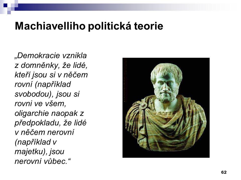 """Machiavelliho politická teorie """"Demokracie vznikla z domněnky, že lidé, kteří jsou si v něčem rovní (například svobodou), jsou si rovni ve všem, oliga"""