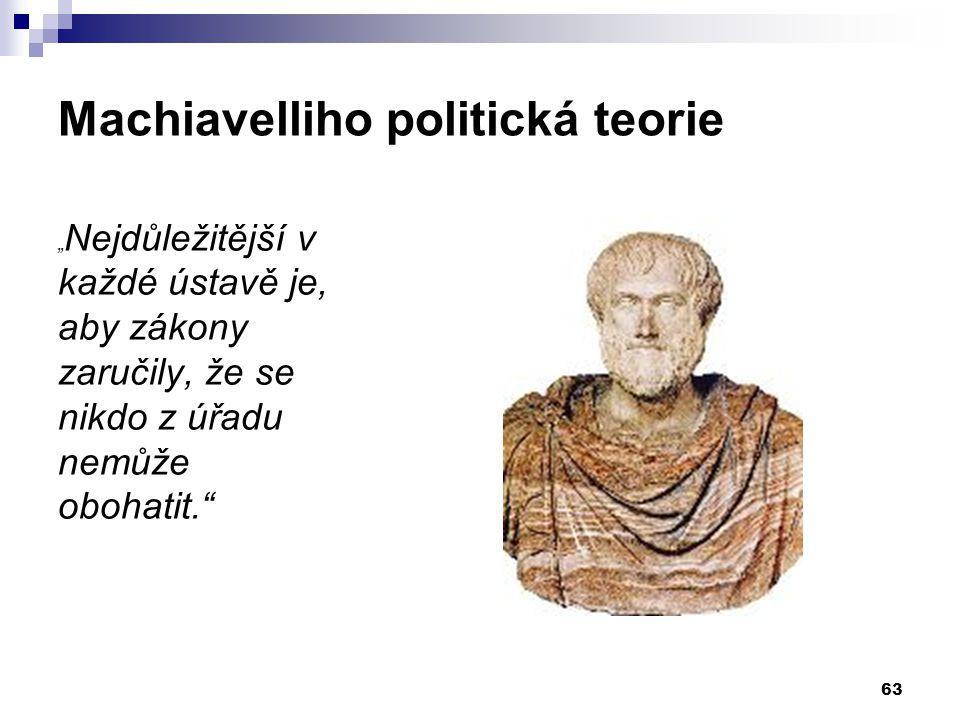"""Machiavelliho politická teorie """" Nejdůležitější v každé ústavě je, aby zákony zaručily, že se nikdo z úřadu nemůže obohatit."""" 63"""