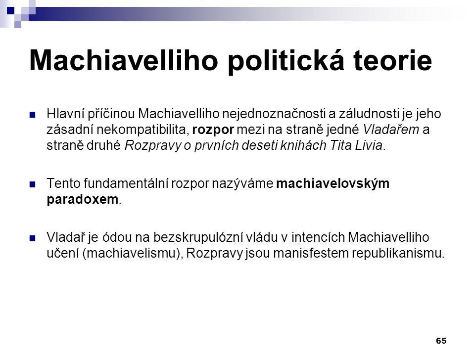 Machiavelliho politická teorie Hlavní příčinou Machiavelliho nejednoznačnosti a záludnosti je jeho zásadní nekompatibilita, rozpor mezi na straně jedn