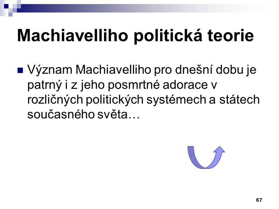 Machiavelliho politická teorie Význam Machiavelliho pro dnešní dobu je patrný i z jeho posmrtné adorace v rozličných politických systémech a státech s