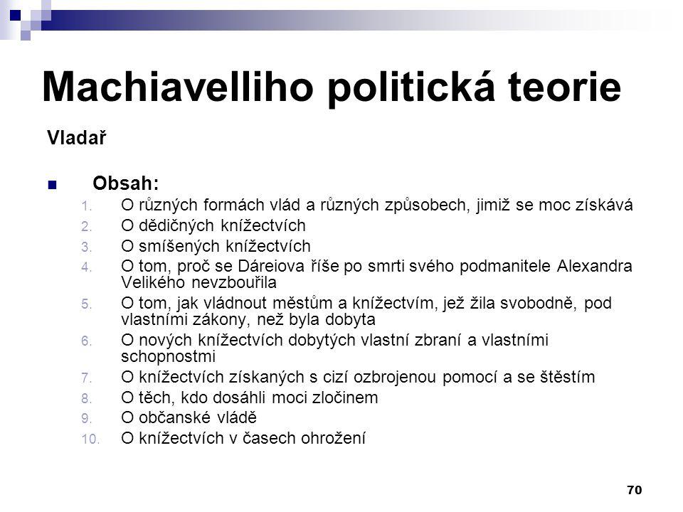 Machiavelliho politická teorie Vladař Obsah: 1. O různých formách vlád a různých způsobech, jimiž se moc získává 2. O dědičných knížectvích 3. O smíše
