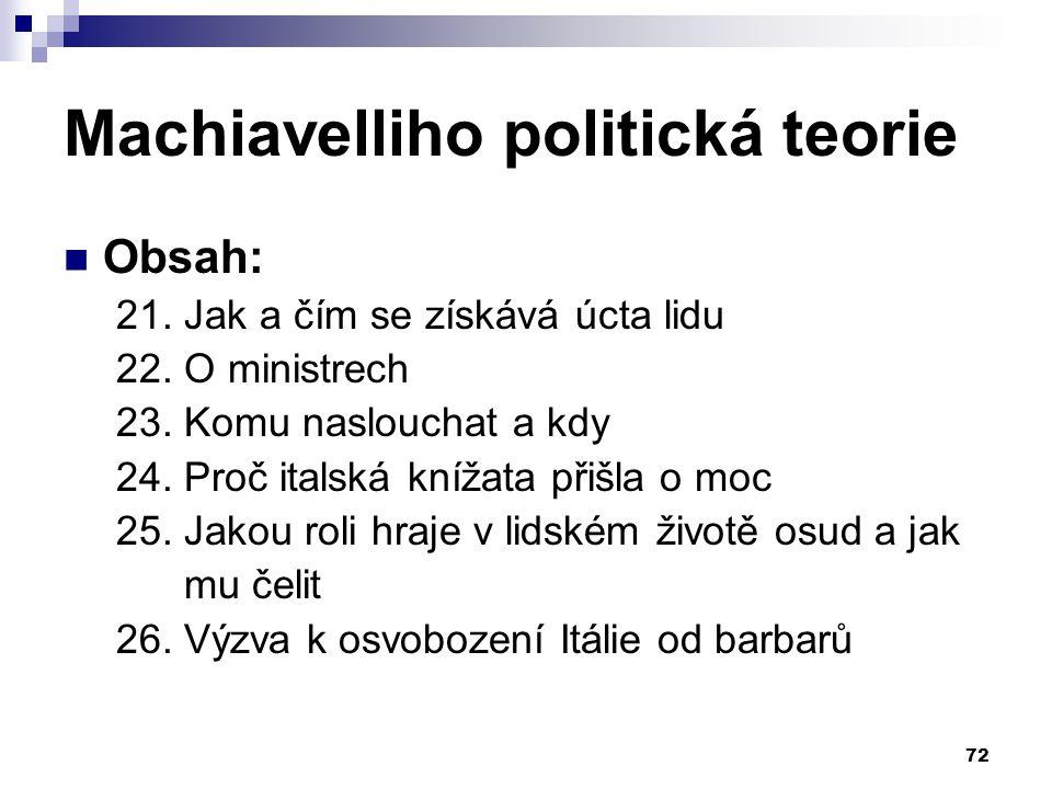 Machiavelliho politická teorie Obsah: 21. Jak a čím se získává úcta lidu 22. O ministrech 23. Komu naslouchat a kdy 24. Proč italská knížata přišla o