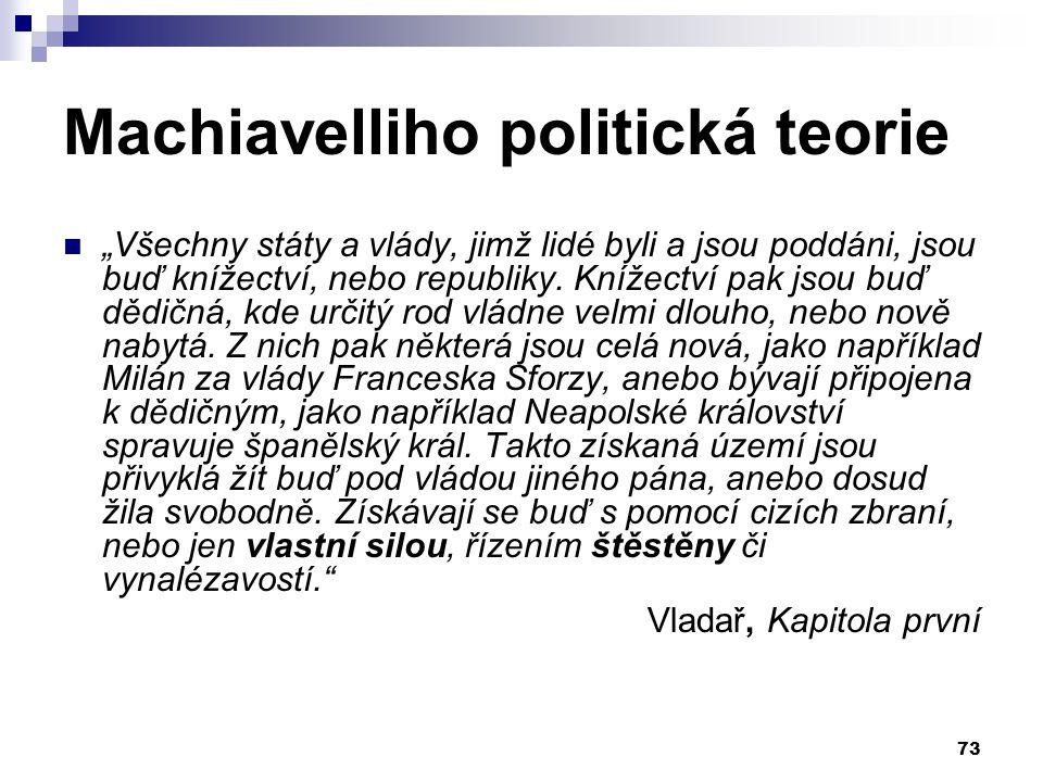 """Machiavelliho politická teorie """"Všechny státy a vlády, jimž lidé byli a jsou poddáni, jsou buď knížectví, nebo republiky. Knížectví pak jsou buď dědič"""