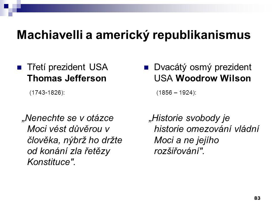 """Machiavelli a americký republikanismus Třetí prezident USA Thomas Jefferson (1743-1826): """"Nenechte se v otázce Moci vést důvěrou v člověka, nýbrž ho d"""