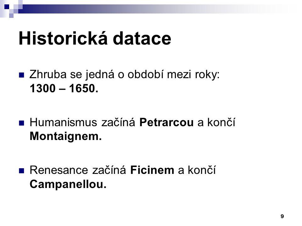 Historická datace Zhruba se jedná o období mezi roky: 1300 – 1650. Humanismus začíná Petrarcou a končí Montaignem. Renesance začíná Ficinem a končí Ca