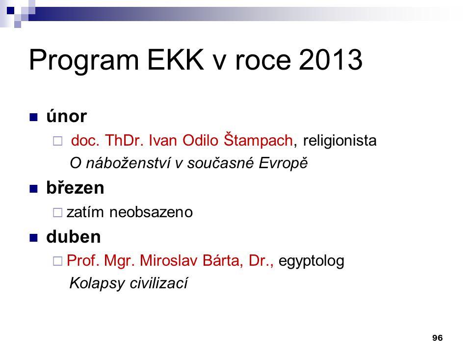 Program EKK v roce 2013 únor  doc. ThDr. Ivan Odilo Štampach, religionista O náboženství v současné Evropě březen  zatím neobsazeno duben  Prof. Mg
