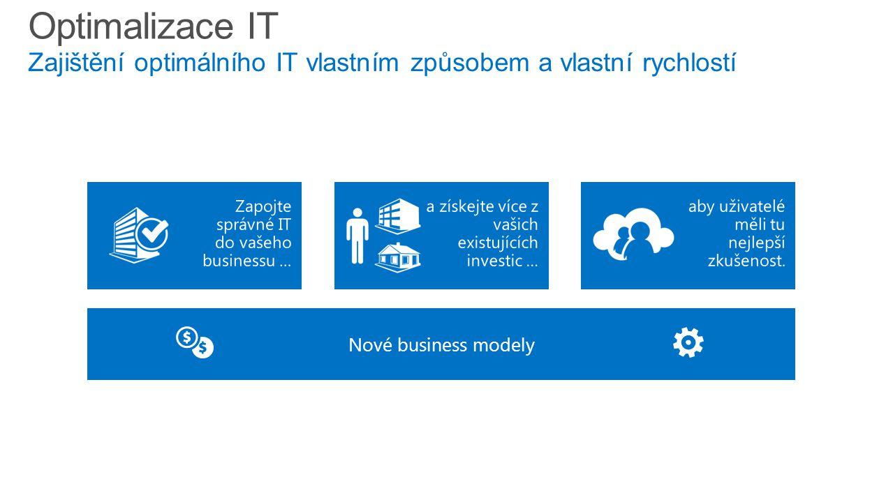 Nové business modely Optimalizace IT Zajištění optimálního IT vlastním způsobem a vlastní rychlostí