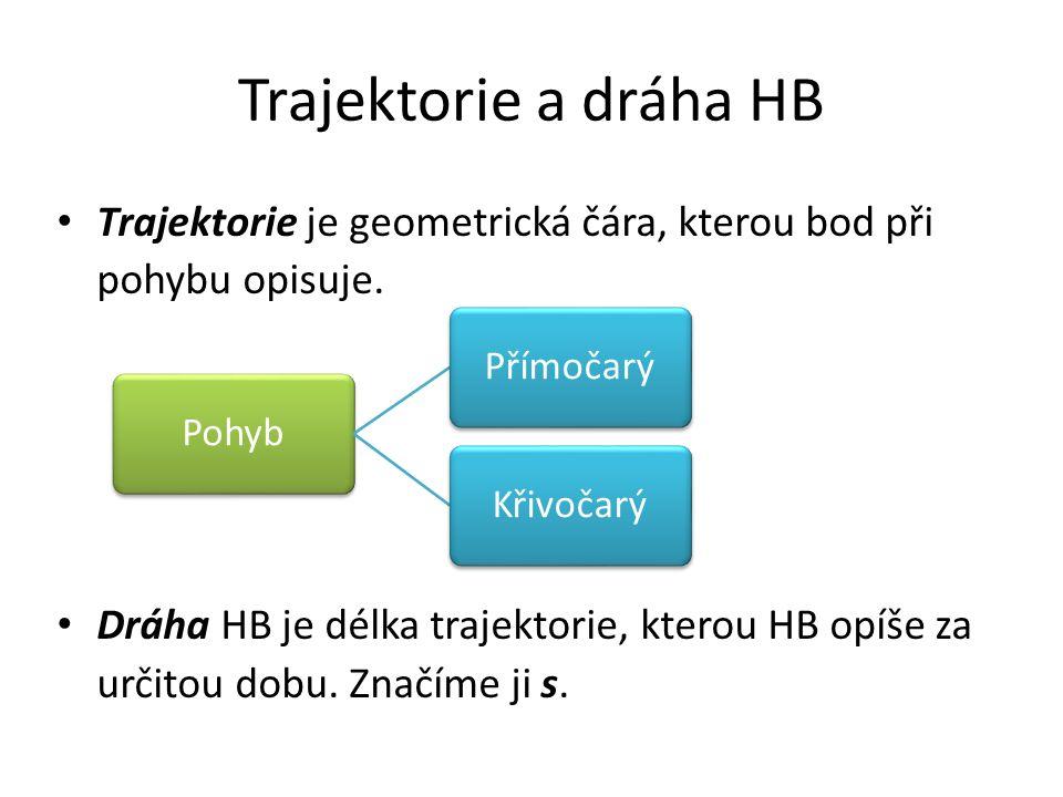 Trajektorie a dráha HB Trajektorie je geometrická čára, kterou bod při pohybu opisuje. Dráha HB je délka trajektorie, kterou HB opíše za určitou dobu.