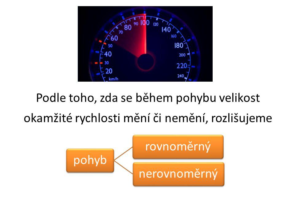 Podle toho, zda se během pohybu velikost okamžité rychlosti mění či nemění, rozlišujeme pohybrovnoměrnýnerovnoměrný