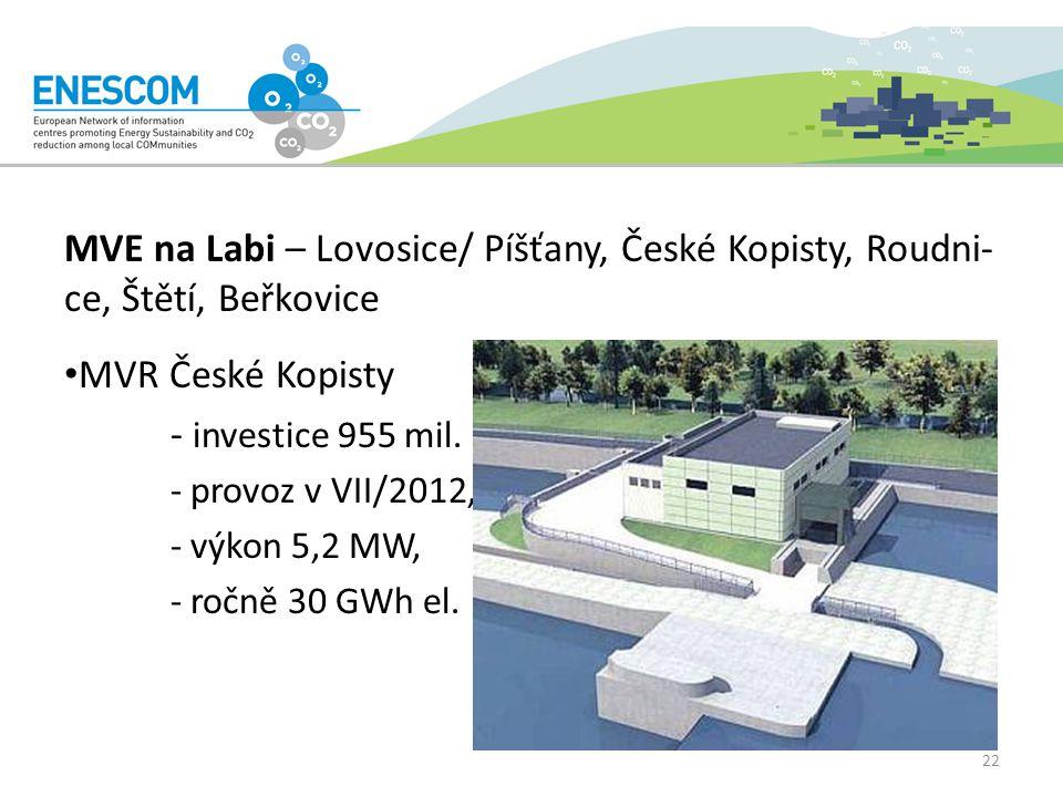 MVE na Labi – Lovosice/ Píšťany, České Kopisty, Roudni- ce, Štětí, Beřkovice MVR České Kopisty - investice 955 mil.