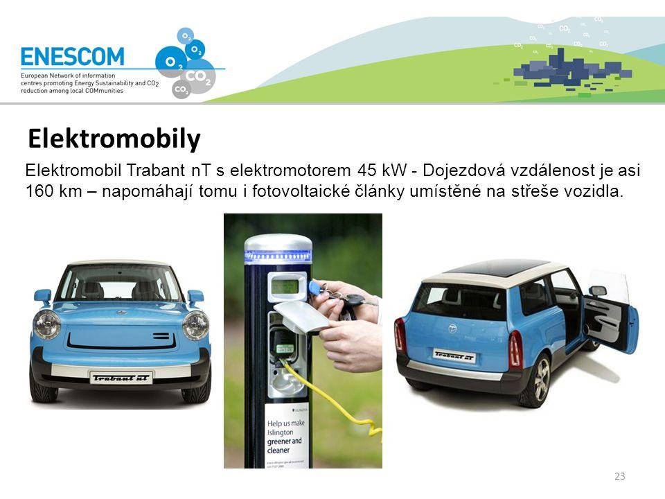 Elektromobily Elektromobil Trabant nT s elektromotorem 45 kW - Dojezdová vzdálenost je asi 160 km – napomáhají tomu i fotovoltaické články umístěné na střeše vozidla.