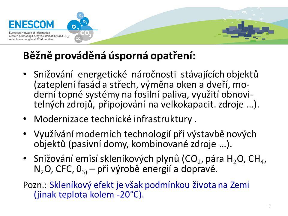 Běžně prováděná úsporná opatření: Snižování energetické náročnosti stávajících objektů (zateplení fasád a střech, výměna oken a dveří, mo- derní topné systémy na fosilní paliva, využití obnovi- telných zdrojů, připojování na velkokapacit.
