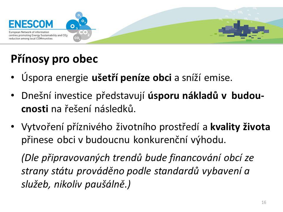 Přínosy pro obec Úspora energie ušetří peníze obci a sníží emise.