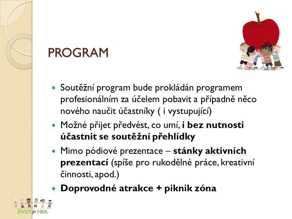 PROGRAM Soutěžní program bude prokládán programem profesionálním za účelem pobavit a případně něco nového naučit účastníky ( i vystupující) Možné přijet předvést, co umí, i bez nutnosti účastnit se soutěžní přehlídky Mimo pódiové prezentace – stánky aktivních prezentací (spíše pro rukodělné práce, kreativní činnosti, apod.) Doprovodné atrakce + piknik zóna