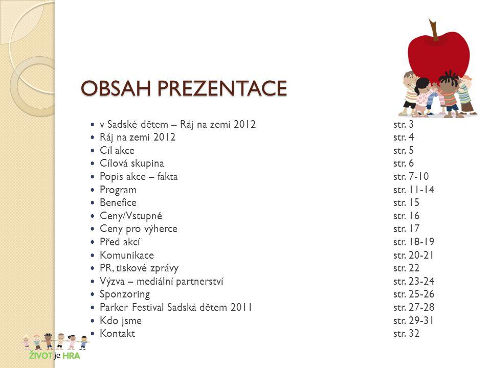 OBSAH PREZENTACE v Sadské dětem – Ráj na zemi 2012str.