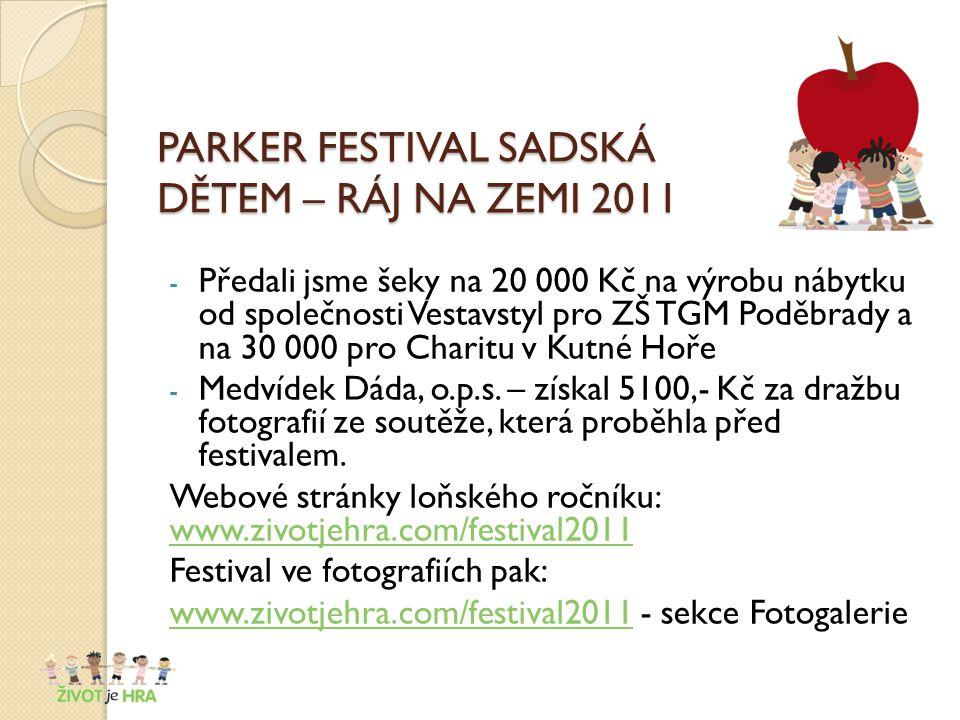 PARKER FESTIVAL SADSKÁ DĚTEM – RÁJ NA ZEMI 2011 - Předali jsme šeky na 20 000 Kč na výrobu nábytku od společnosti Vestavstyl pro ZŠ TGM Poděbrady a na 30 000 pro Charitu v Kutné Hoře - Medvídek Dáda, o.p.s.