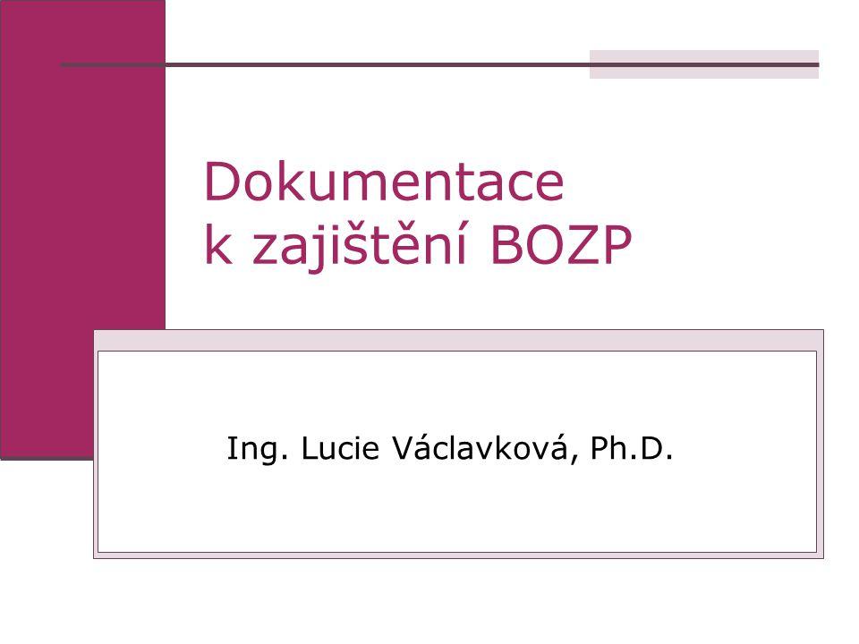 Dokumentace k zajištění BOZP Ing. Lucie Václavková, Ph.D.